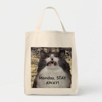 月曜日は、遠くににとどまります! 食料雑貨の戦闘状況表示板 トートバッグ