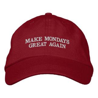 月曜日を素晴らしく再度させて下さい 刺繍入りキャップ