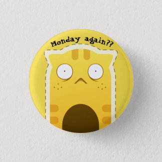 月曜日猫ボタン 3.2CM 丸型バッジ
