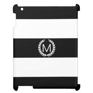 月桂樹のリースのモノグラムが付いている黒い及び白のストライプ iPadケース
