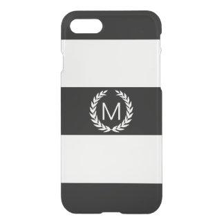 月桂樹のリースのモノグラムが付いている黒い及び白のストライプ iPhone 7ケース