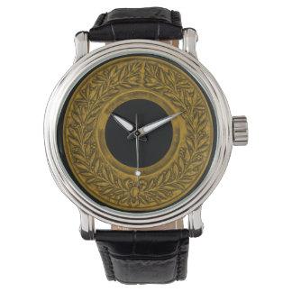月桂樹のリースの金ゴールド 腕時計