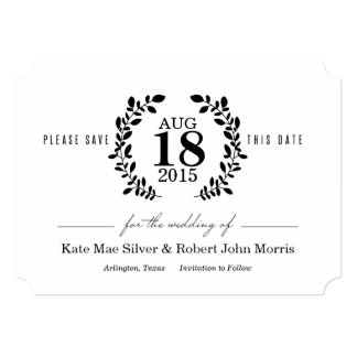 月桂樹のリースのNonphotoの黒く及び白い保存日付 12.7 X 17.8 インビテーションカード