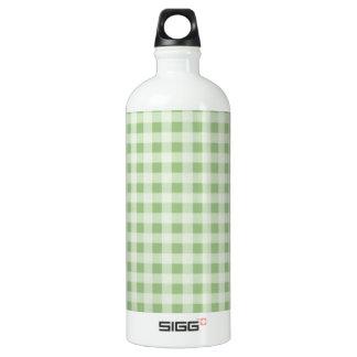 月桂樹の緑のギンガム; チェック模様 ウォーターボトル