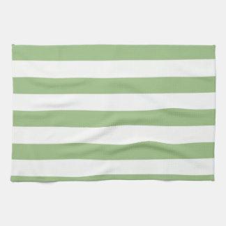 月桂樹の緑の横は縞で飾ります キッチンタオル
