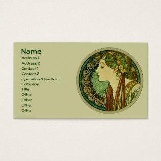 月桂樹、アルフォンス島のミュシャのヴィンテージアールヌーボー 名刺