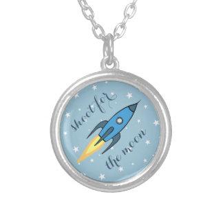 月青いレトロのRocketship及び星のためのシュート シルバープレートネックレス