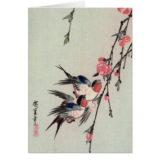 月、つばめおよびモモの花、Ando Hiroshige カード