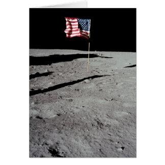 月、アポロ11、NASAの旗 グリーティングカード