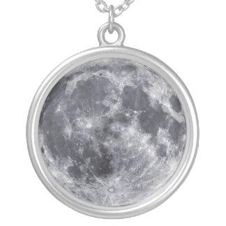 月 シルバープレートネックレス