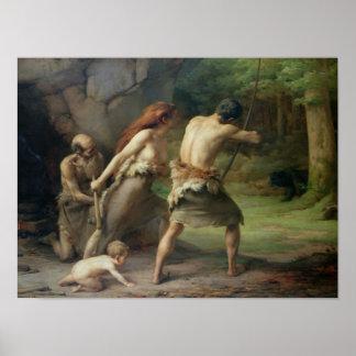 有史以前の人の狩りくま1832年 ポスター