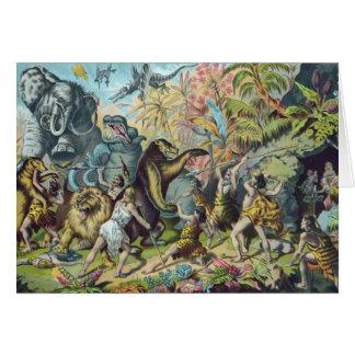 有史以前の動物の旧式なプリント カード
