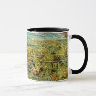 有史以前の海底の旧式なプリント マグカップ