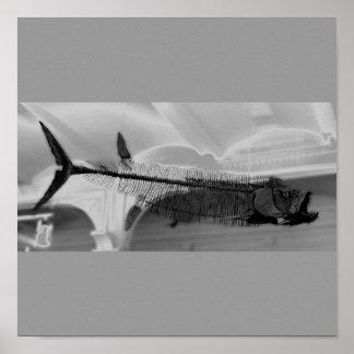 有史以前の魚B+W ポスター