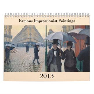 有名な印象派の絵画2013年 カレンダー