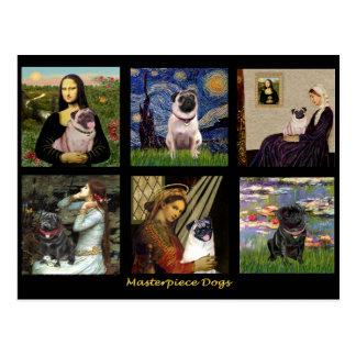 有名な芸術のパグ合成#1 ポストカード