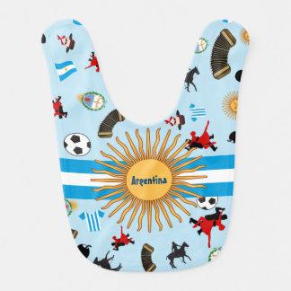 有名な項目が付いているアルゼンチンの国旗 ベビービブ