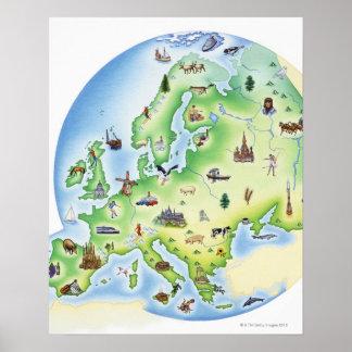 有名のイラストレーションを含むヨーロッパの地図 ポスター