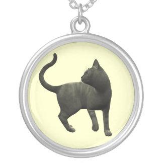 有害な黒猫のネックレス シルバープレートネックレス