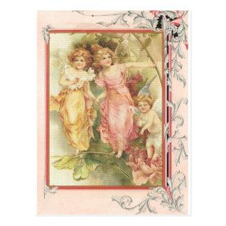 有望-天使及び花 葉書き