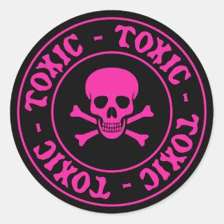 有毒なピンクのどくろ印のステッカー ラウンドシール