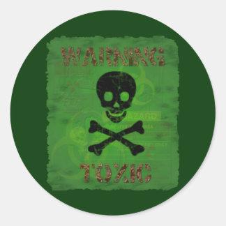有毒な警告のステッカー ラウンドシール
