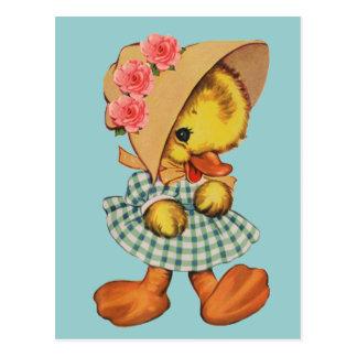 服およびボンネットの小さいアヒル ポストカード
