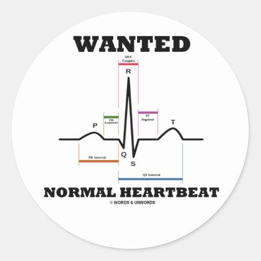 望まれる|正常|心拍|(心電図) 丸形シール・ステッカー