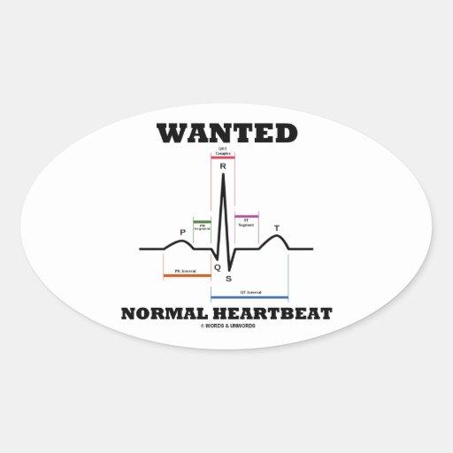 望まれる|正常|Hearbeat|(ECG/EKG|心電図) 卵形シールステッカー