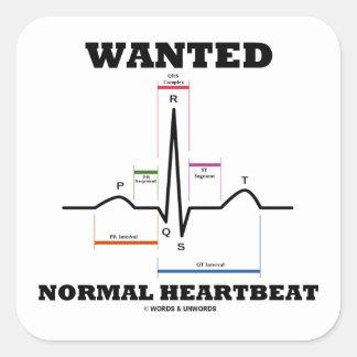 望まれる|正常|Hearbeat|(ECG/EKG|心電図) 正方形シールステッカー