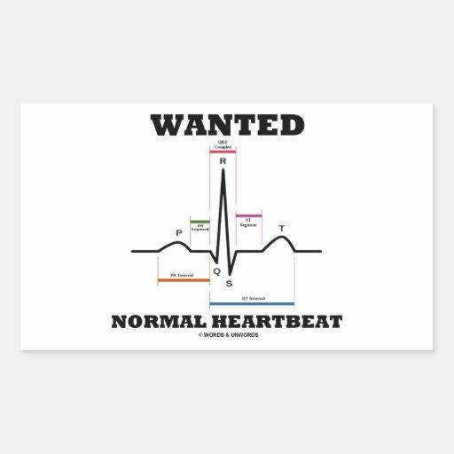望まれる|正常|Hearbeat|(ECG/EKG|心電図) 長方形シールステッカー