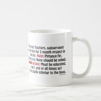 望まれる: 無愛想で、従属的な用心棒 コーヒーマグカップ