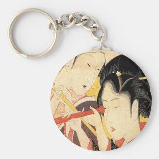 望遠鏡を覗く女、望遠鏡、Hokusai、Ukiyo-eを持つ北斎の女の子 キーホルダー