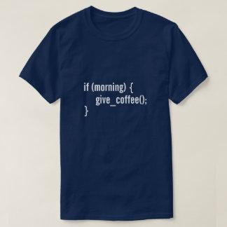 朝がコーヒーにおもしろいなプログラマーコードを与えればHTML Tシャツ