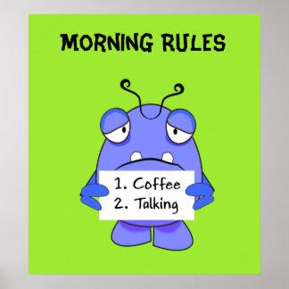 朝のコーヒーを持つ青いモンスターは印を支配します ポスター