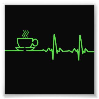 朝のコーヒー心拍EKG フォトプリント