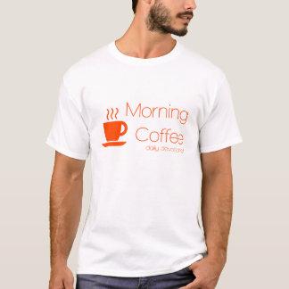 朝のコーヒー献身のロゴのワイシャツ Tシャツ