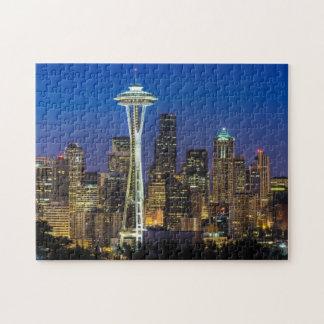 朝の時間のシアトルのスカイラインのイメージ ジグソーパズル