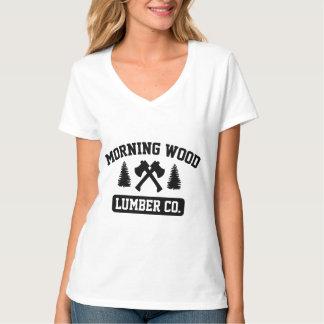朝の木製の製材Co. Tシャツ