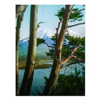 朝の森のヴィンテージ日本による富士山 ポストカード