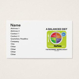 朝の正午および夜MyPlateのバランスの取れた食事 名刺
