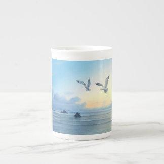 朝の潮ビーチのテーマの台所飲み物製品 ボーンチャイナカップ