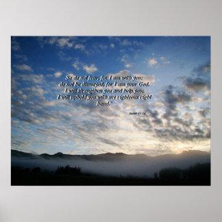 朝の空及び霧のアイザイアの41:10のプリント ポスター