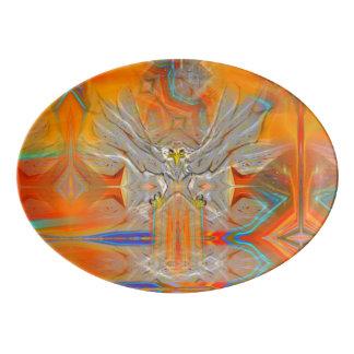 朝日の大皿の方の厳粛にワシの上昇 磁器大皿