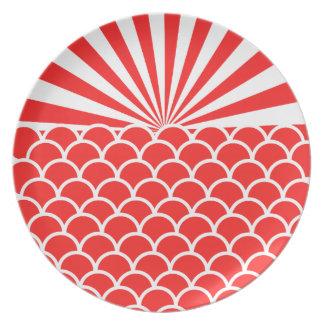 朝日の赤い日本人の刺激を受けたなパターン プレート