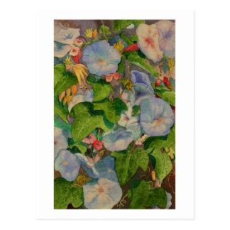 朝顔の花の水彩画の絵画 ポストカード