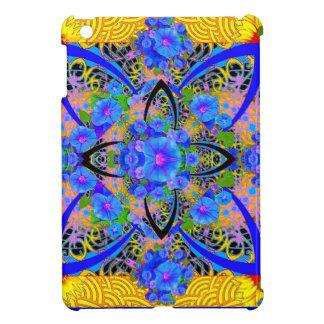朝顔の黄色く青いアールデコパターン iPad MINIケース