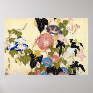 朝顔、北斎の朝顔、Hokusai、Ukiyo-e ポスター