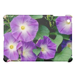朝顔-紫色の花の緑の葉 iPad MINIケース
