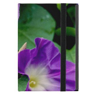朝顔、紫色の花の緑の葉 iPad MINI ケース